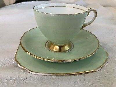 Vintage Tuscan Fine Bone China Trio - Mint Green With Gold Edge  Ex Cond.
