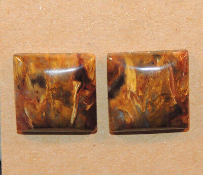 Pietersite Cabochon pair 16x16mm with 5.5mm dome (13154)