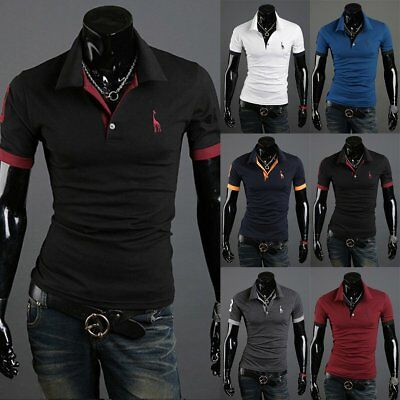 Fashion Mens Slim Fit Cotton Short Sleeve Casual Polo Shirts T-shirt Tee Tops