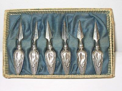 Antique C1900 Sterling Silver Six Figural Corn Cob Holders Spears Original Box