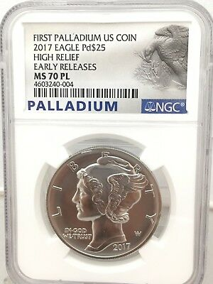 2017 1 oz Palladium American Eagle $25 NGC MS 70 PL Early Release (4 available)