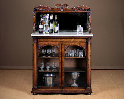Antique Regency Rosewood and Marble Top Chiffonier Side Cabinet c.1830.