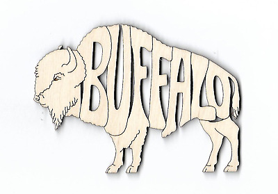 Buffalo laser cut and engraved wood Magnet