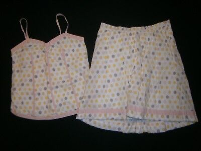 A PEA IN THE POD * Maternity sz Small * 2PC SKIRT TOP SET Outfit CREAM POLKA-DOT