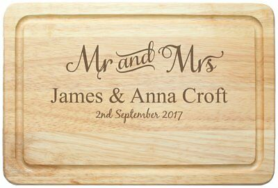 Personalised Mr & Mrs Wooden Chopping Board - Wedding Gift - Free Delivery