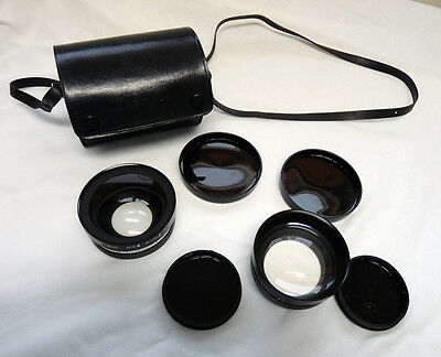 Vintage Yashica Yashikor Telephoto (Y003) and Wide-Angle (Y004) Lenses w/ Case