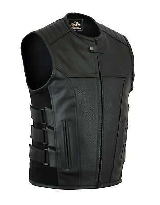 "Mens New Side Buckels Real Leather "" Cut Off "" Motorcycle Biker Waistcoat/Vest"