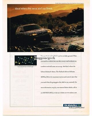 1999 SUBARU Outback Station Wagon Driving in a Stream Vtg Print Ad