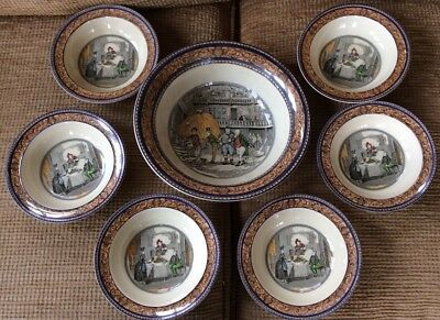 Vintage 6 Bowls + Large Dish, Pickwick Papers, ADAMS CHINA CO. ENGLAND,