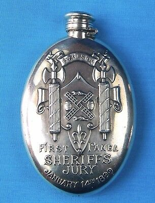 Antique 1899 Gorham Sterling Silver Presentation Sheriffs Jury Engraved Flask