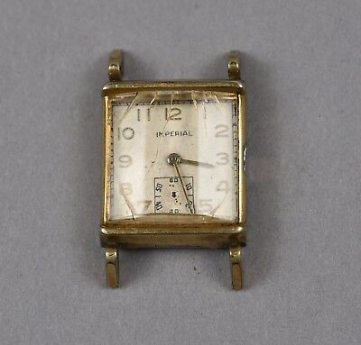 Vintage Imperial Men's Gold Plated Art Deco Wind Up Watch FOR REPAIR PARTS