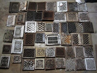 50 ! Ornate Cast Iron Heating Grate Vents Victorian Heat Register Grills Louvers