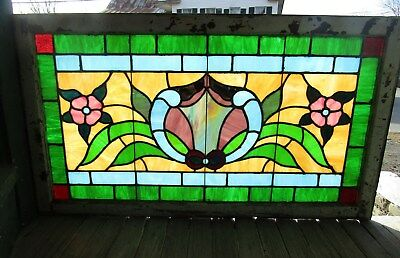 lLARGE COLORFUL ANTIQUE STAINED GLASS WINDOW 28 by 58
