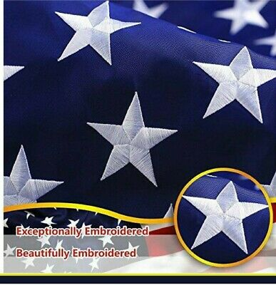 8x12 Ft US American Nylon Embroidered Stars Sewn Stripes Deluxe USA Large Flag
