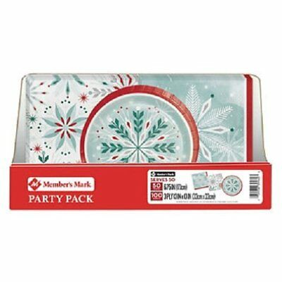 Member's Mark Wonderland Frost Snowflake Party Pack. Disposable Performa Paper C