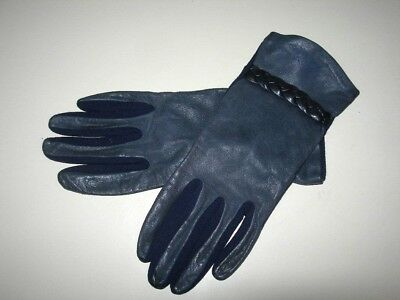 Vintage Fownes Gloves,Navy Blue Real Leather and Stretch Nylon sz Medium 7-7.5