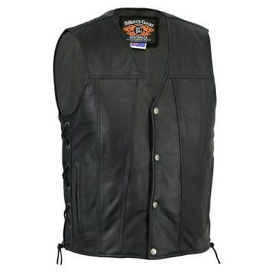 Men Harley Premium Style A Grade Lace Motorbike Leather Vest 308298 - Black