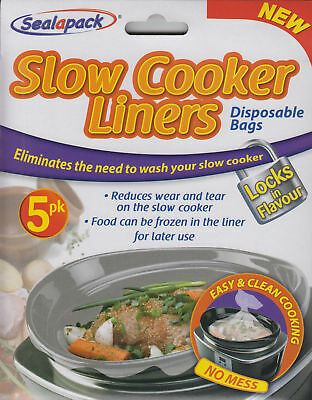 3x SEALAPACK SLOW COOKER LINERS 5 PK DISPOSABLE BAGS EASY & CLEAN COOKING