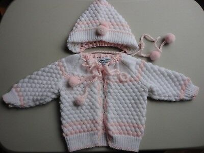Infant Girl Pink & White Knit Sweater & Hat with Pompoms Miller Weaving Size 0