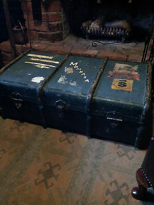Extremely well traveled steamer trunk... Sierra Leone, Mombasa to us in the UK..