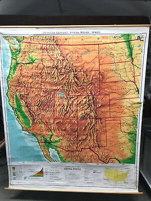 """Original 1963 Southwest US: Physical and Political Classroom Map (77""""L x 63""""W)"""