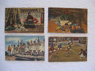 4 Postcards Navajo Indians Making Rugs, Silversmith, Fire Dancers Sand Painting