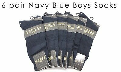 6 Pairs of Genuine Stacy Adams Boys Navy Dress Socks Shoe Size 3-9 Comfortable