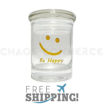 BE HAPPY Airtight Smell Proof Spice Herb Storage GLASS STASH JAR - 1/8 oz