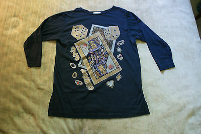 Casino Memorabilia Gambling T-Shirt Las Vegas Nevada Queen of Hearts Cards Dice