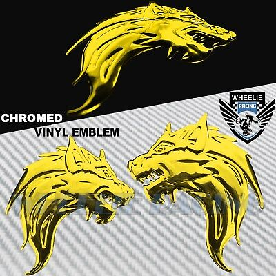 "Pair 5""x3"" 3D Abs Emblem Decal Motorcycle Fairing Fender Sticker Wolf Gang Gold"