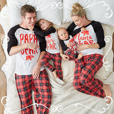 UK Stock Family Matching Kids Mom Dad Christmas Pajamas Sets Sleepwear Nightwear