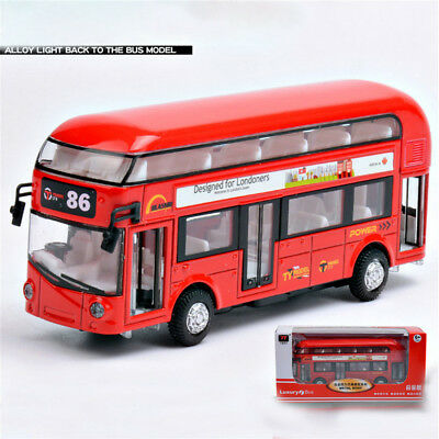 Sound and light Metal Double-Decker Tour City Bus Red Pull Back Car Kid Toy EA