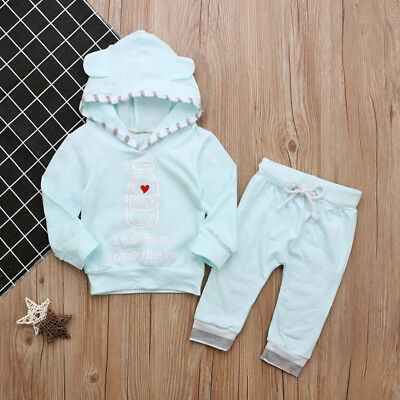Toddler Kids Baby Boy Girl Long sleeves Cotton Outfits Ear Hooded T-shirt  Pants