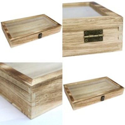 Jewelry Display Case Large Natural Wood TEMPERED Glass Top Lid with Metal Clip