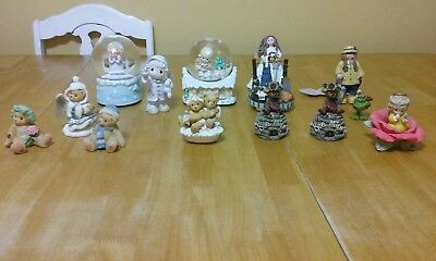 Lot of 14 Precious Moments, Boyds Bears, cherished teddies,and other Figurines