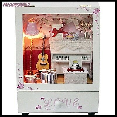 Miniature Wooden DIY Toy Doll House Kit craft Music Room Music Box girls create