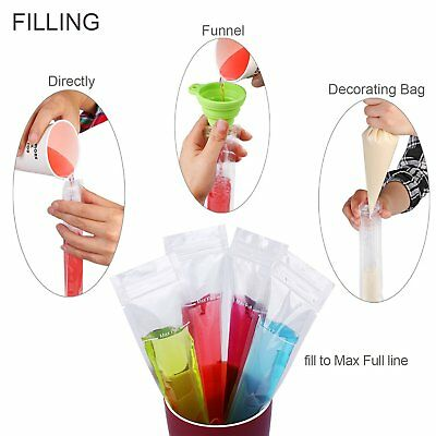 Reusable Ice Popsicle Molds Bags Freeze Pops Mould Zip Lock Food Storage Pouches