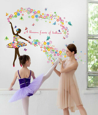 Removable Flower Fairy Dancing Girl Butterfly Wall Sticker Decal Home Room Decor