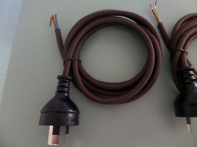 Power cable 3 core with plug vintage dark brown x 3 pieces