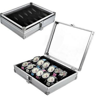 12 Grid Slots Wrist Watches Display Storage Box Aluminium & Plastic Organizer