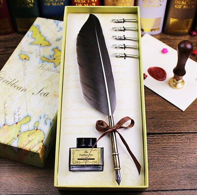 Feather Writing Caligraphy Dip Pen Quill with 5 ink Nibs Foutain Gift