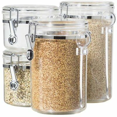 Bathroom Accessories Oggi 4-Piece Acrylic Canister Set With Airtight Lids And