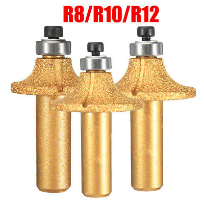 R8/R10/R12 Electroplate Diamond Stone Marble Grinding Edge Router Bit 1/2''Shank
