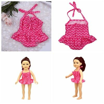 Dolls Clothes Rose Red Swimsuit Set for 18'' American Girl Our Generation Doll