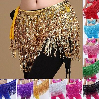 Belly Dance Scarf Sequins Fringe Costume Hip Belt Skirt Scarf Dancing Skirt Wear