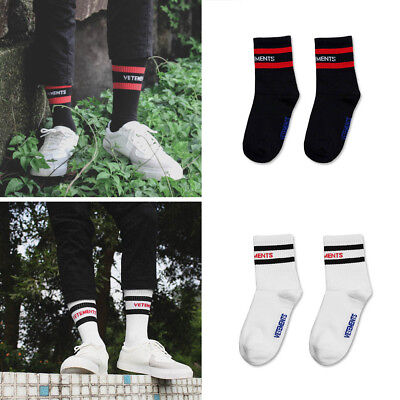 New Unisex Vetements Knitting Stripe cotton crew socks BLK/WHT Brand SUBXstyle