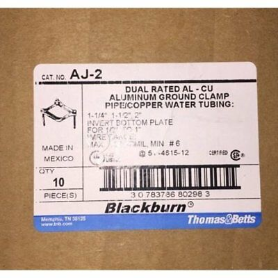 Pipe Clamps Thomas Betts Aj-2 Aluminum Ground Pipe/Copper Water Tubing (Box Of