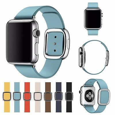 Magnetic Modern Buckle Genuine Leather Watch Band Straps for Apple Watch 3/2/1