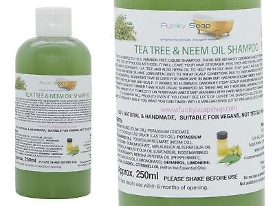 1bottle Liquid Tea Tree & Neem Oil Shampoo 100% Natural SLS Free 250ml