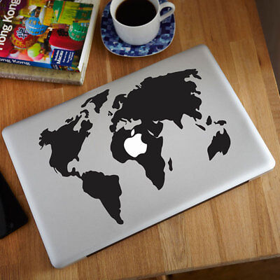 Fashion World Map Pattern Vinyl Decal Black Sticker For Macbook Air/Pro Laptop